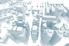 Abstract contemporary 3d city, blue toned Stock Photos