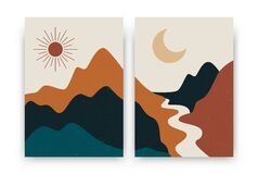 Free Abstract Contemporary Landscape Posters. Modern Boho Background Set With Sun Moon Mountains, Minimalist Wall Decor. Vector Print Stock Image - 194515871