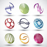 Abstract contemporary style icons. Abstract contemporary style icons, 3d designs vector set, round symbols collection Stock Images