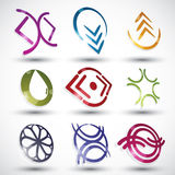 Abstract contemporary style icons, vector designs set, 3d round. Symbols collection. Template Royalty Free Stock Photo
