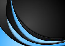 Abstract contrast blue black wavy background Stock Image