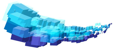 Abstract cool blue cubes shapes stream wave. In vector format Stock Image