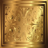 Abstract Copper Gold Background of Elegant Vintage Floral Stock Photo