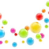 Abstract copyspace backdrop made of glossy spheres. Colorful glossy sphere group composition as abstract copyspace background Stock Images