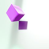 Abstract copyspace background of cubes above surface. Abstract copyspace background made of violet glossy cube above the silver surface Stock Photos