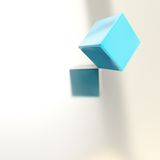 Abstract copyspace background of cubes above surface Royalty Free Stock Image