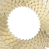 Abstract copyspace round frame. Golden glossy reflection cube plate composition isolated over white Stock Photo