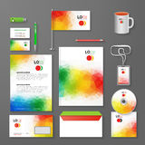 Abstract Corporate Business identity Template Layout. Pen, CD, Cup, Letter, Folder, Business cards. Vector company Stock Photos