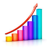 Growing bar chart with arrow Stock Photo