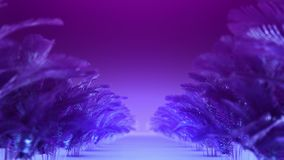 Abstract corridor of blue-violet plants stock video