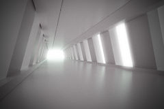 Abstract corridor interior with light. 3d render illustration Royalty Free Stock Photo