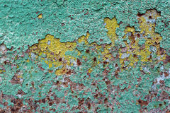 Abstract corroded colorful wallpaper grunge background iron rusty artistic wall peeling paint Stock Photography