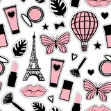 Abstract cosmetic. Seamless pattern fashion style. Paris Eiffel Tower sign. Vector illustration girly stickers isolated on white. Abstract cosmetic hand drawing stock illustration