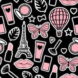 Abstract cosmetic hand drawing. Seamless pattern fashion style. Paris Eiffel Tower. Vector illustration girly stickers on black. Abstract cosmetic hand drawing stock illustration