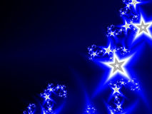 Abstract cosmic deep blue background with stars. Abstract cosmic deep blue background with bright stars. Bokeh effect. Festive, glowing sparkle illustration Royalty Free Stock Photography