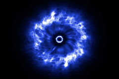 Abstract cosmic explosion shockwave blue energy on black background Stock Images