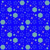 Abstract cosmic seamless pattern with blue elements. stock illustration
