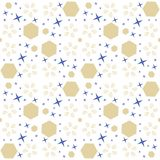 Abstract cosmic seamless pattern with blue and gold elements. vector illustration