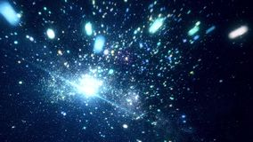 Abstract cosmic space with bright stars. Animation. Moving among bright sparkling stars in outer space of clear night