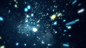 Abstract cosmic space with bright stars. Animation. Moving among bright sparkling stars in outer space of clear night stock footage