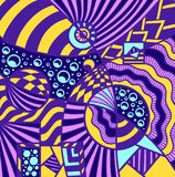 Abstract Cosmos background pattern in Memphis style colorful. Abstract Cosmos background pattern in Memphis or Zendoodle style blue lilac yellow  for decoration Royalty Free Stock Image