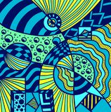 Abstract Cosmos background pattern in Memphis style colorful. Abstract Cosmos background pattern in Memphis or Zendoodle style blue green yellow  for decoration Royalty Free Stock Photo
