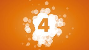 Abstract countdown with bubbles on orange background