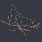 Abstract couple birds on branch line art illustration decoration design Stock Photo