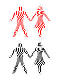 Abstract Couples Holding Hands in Black and Red. Stylized Abstract Illustration of a couple holding hands depicted in black and red Stock Photo