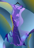 Abstract couture dress. On multicolor background. 10 EPS Royalty Free Stock Photos