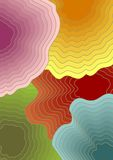Abstract cover background template with concentric shapes in different colors - pink, yellow, red, blue, green Stock Photo