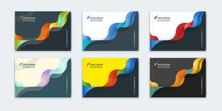 Abstract cover design, business brochure template. Layout, report, magazine or booklet in A4 horizontally in multi-colored waves dynamic fuzzy, soft lines and Royalty Free Stock Photography