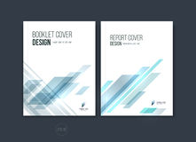 Abstract cover design, business brochure template layout, report. Magazine or booklet in A4 with blue dynamic diagonal rectangular geometric shapes. Vector Royalty Free Stock Image