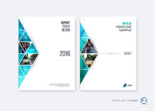 Abstract cover design, business brochure template layout, report. Magazine or booklet in A4 with blue emerald moving triangular geometric shapes on polygonal royalty free illustration