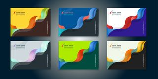 Abstract cover design, business brochure template. Layout, report, magazine or booklet in A4 horizontally in multi-colored waves dynamic fuzzy, soft lines and Stock Photos