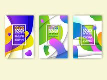 Abstract cover design with colorful waves and paper cut depth effect. Stock Images