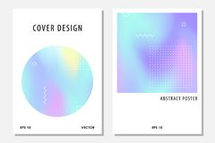 Abstract cover set with holographic elements. Retro style poster. Modern design template for flyer, cards, banner, invitation. Neon minimalist vector banner royalty free illustration