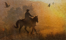 An abstract cowboy riding in a meadow with trees, crows flying above and a textured watercolor yellow background. stock photos