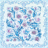 Abstract cracked background with floral ornament. Abstract cracked background with blue floral ornament Stock Photo