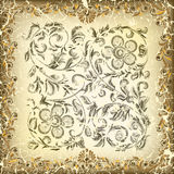 Abstract cracked background with floral ornament. Abstract cracked beige background with floral ornament Stock Photo