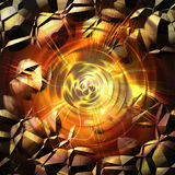 Abstract cracked background with rays and concentric circles Stock Image