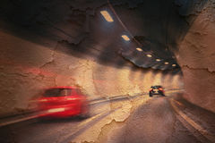 Abstract cracked tunnel high speed driving Stock Image