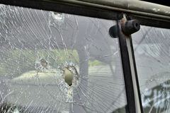 Abstract Cracked Window Glass on Antique Truck Royalty Free Stock Photography