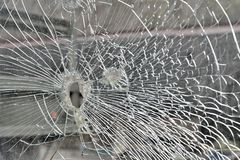 Abstract Cracked Window Glass on Antique Truck Royalty Free Stock Photo
