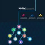 Abstract creatief concepten vector hexagon netwerk met pictogram dat op achtergrond voor Web, mobiele App wordt geïsoleerd Kunsti Royalty-vrije Stock Foto
