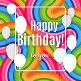 Abstract creative banner with white frame and text Happy birthday to you on a bright colorful background of wavy lines Design stock illustration