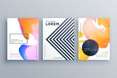 Abstract creative brochure design template set made with lines a Stock Photos