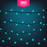 Abstract creative christmas garland light isolated on background. template. Vector illustration clipart art for Xmas Stock Photo