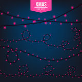 Abstract creative christmas garland light isolated on background. template. Vector illustration clipart art for Xmas Royalty Free Stock Image