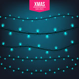 Abstract creative christmas garland light isolated on background. template. Vector illustration clipart art for Xmas Royalty Free Stock Photos